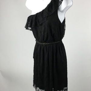 ~ AUW One Shoulder belted Lace cocktail Dress